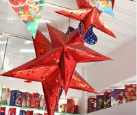 30/45cm set 5 pcs Christmas Star Lanterns Lamp Laser Paper Star Lanterns Light Party Room Decors Supplies star light