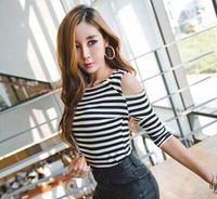 2014 new fashion women sexy Slim tight strapless striped long-sleeved striped t-shirt