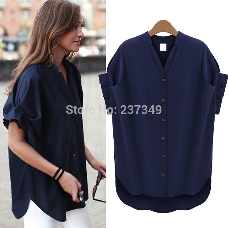 2014 quentes de verão elegante gola solta azul marinho moda chiffon mulheres blusas camisas Casual(China (Mainland))
