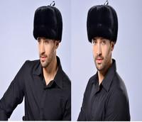 Winter genuine mink fur cap ear caps male mink fur hat outdoor men's ears