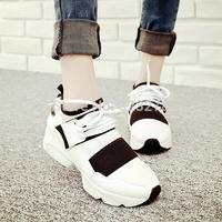 Trend autumn vintage lacing sneaker running platform wedges single shoes female shoes