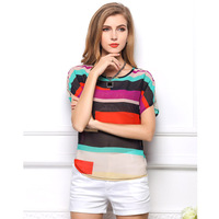 foreign trade new fashion color stripe chiffon shirt women's loose short-sleeved printed chiffon blouse FREE SHIPPING