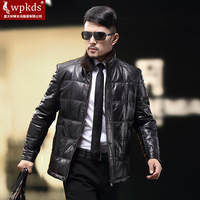 2014 mink hair genuine leather down coat male down leather clothing stand collar men's genuine leather clothing