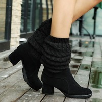 New 2014 Women High Heels Boots Sexy Fashion Autumn Winter Ladies Pointed Toe Long Over The Knee Boots For Women 2 colors