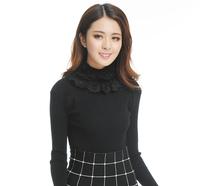 2014 winter women fashion rabbit fur lace turtleneck medium-long pullover sweater