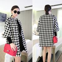 Cat 2014 woolen outerwear female three quarter sleeve fashion all-match medium-long outerwear