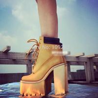 2014 new winter women's boots metal buckle ultra high heels platform shoes punk women's spring and autumn platform boots