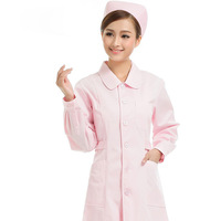 Nurse Clothing White Pink  Doctor Clothing Long Sleeve Winter Glasses Shop Beauty Work Wear Free Shipping M-415
