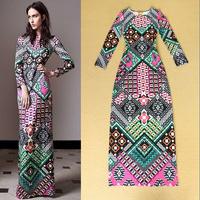 2014 Autumn Runway High Street Fashion Elegant Formal Full Dress Women's Long Sleeves Colourful Geometry Print Long Shift Dress