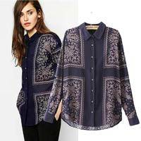 Free shipping European style 2014 new women's wild fashion tops Retro print loose long-sleeved shirt blouse