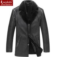 Luxury wpkds2014 men's clothing medium-long turn-down collar fur one piece male genuine fur coat leather clothing