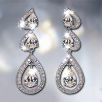 Retail &Wholesale Dangle Earring for Women/Girls Earrings 925 Sterling Silver Wedding Jewelry White Zircon austria earrings E474