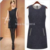 Women's wollen casual winter dress  basic sleeveless woolen tank one-piece dress party dresses vestidos de festa size M-XXL