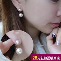 925 pure silver stud earring female shell bead south sea pearl earrings ear hook earring silver jewelry in winter