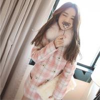 2014 winter fox fur woolen overcoat pink plaid sweet elegant sweater outerwear female