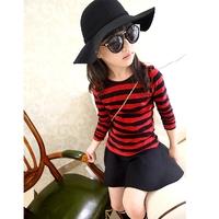 2014 Kids' navy style stripe classic long-sleeve T-shirt Girls' 100% cotton shirt