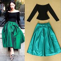 2014 Autumn Fashion Clothing Set Women's Slash Collar Long Sleeves Black Swearshirt + Vintage Green Bow Mid Calf Skirt