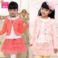 2014 autumn child set female triangle set child princess dress child set 7 - 12