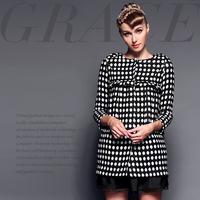 Fashion high quality polka dot print handmade flowers loose wool overcoat