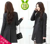Fashion ladies elegant slim plus size clothing outerwear medium-long slim waist wool coat wool