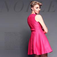 Fashion brief net colored slim waist big one-piece dress