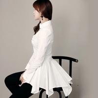 Hot,2014 Fall New Women Slim long-sleeved shirt collar dovetail short paragraph dress