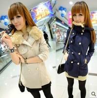 Woolen double breasted outerwear female autumn fashion medium-long wool collar outerwear wool coat