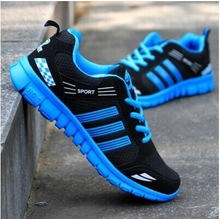 Fall mesh sneakers 2014 new men's light -soled shoes to help low permeability stitching men running shoes size 39-46(China (Mainland))