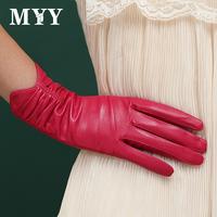 2014 thermal gloves women's suede genuine leather gloves elegant ruffle repair gloves
