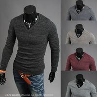 knitted men sweater long-sleeved V-neck men's sweater 4 colors