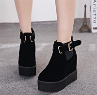 Fashion black buckle flat platform suede boots elevator wedges heel lifed round toe women ankle boots autumn shoes 886 - 20