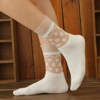 2014 spring and autumn small cathy socks flower solid glass sexy stockings