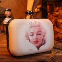 Marilyn Monroe Evening Bag 2014 Desigual Mini Box Bag Fashion Hand Clutch for Party Free Shipping High Quality Women Handbag
