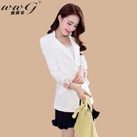 2014 autumn spring and autumn female plus size outerwear suit slim medium-long blazer coat
