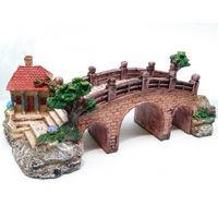 Aquarium Decoration Bridge House Tree For fish Tank Resin Ornaments L19cm*W8.5cm*H7cm free shipping