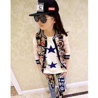 2014 Girls' autumn fashion flower patchwork baseball jacket knitted outerwear short design of thin outerwear