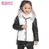 2014 New fashion korea style female child outerwear baby thickening cotton-padded coat girls winter jacket kids