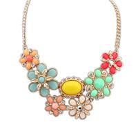 Fashion bohemia gem flower female fashion short necklace design FREE SHIPPING