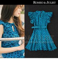 3343 2014 summer female fashion ruffle sleeve fresh clover print slim one-piece dress