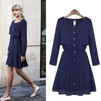 3530 autumn one-piece dress fashion street single breasted long-sleeve dress female skirt medium solid color a-line skirt