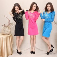765  autumn embroidered rhinestones one-piece dress slim long-sleeve lace China national trend basic