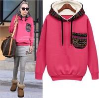 2014 Autumn winter women hoodies pullover fashion loose plus size pocket  hood  velvet thickening outerwear sweatshirt female