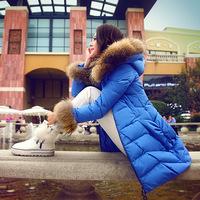 2014 winter down jacket women slim medium-long women's large fur collar down coat