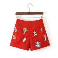 2014 women's fashion embroidery slim mid waist casual shorts