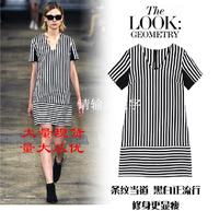 Fashion 2014 plus size clothing black and white stripe short-sleeve v-neck dress