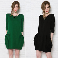 14 fashion plus size clothing mm spring and autumn loose involucres long-sleeve dress