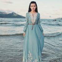 2014 Spring and summer vintage royal full dress sea blue one-piece dress full dress beach dress