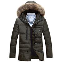 2014 Down Jacket Winter Jacket Men warm Coat White Duck Long Thicken Outwear Hooded Real Fur Men's Parka plus Size 4XL