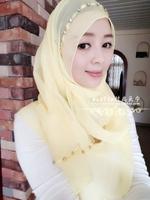 2014FreeShipping Muslim hijab muslim hijab scarf bandanas handmade beaded belt popper simple