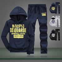 2014 Autumn winter sports suit fashion sportswear hoodies set sweatshirt men's clothing casual men's tracksuit plus velvet